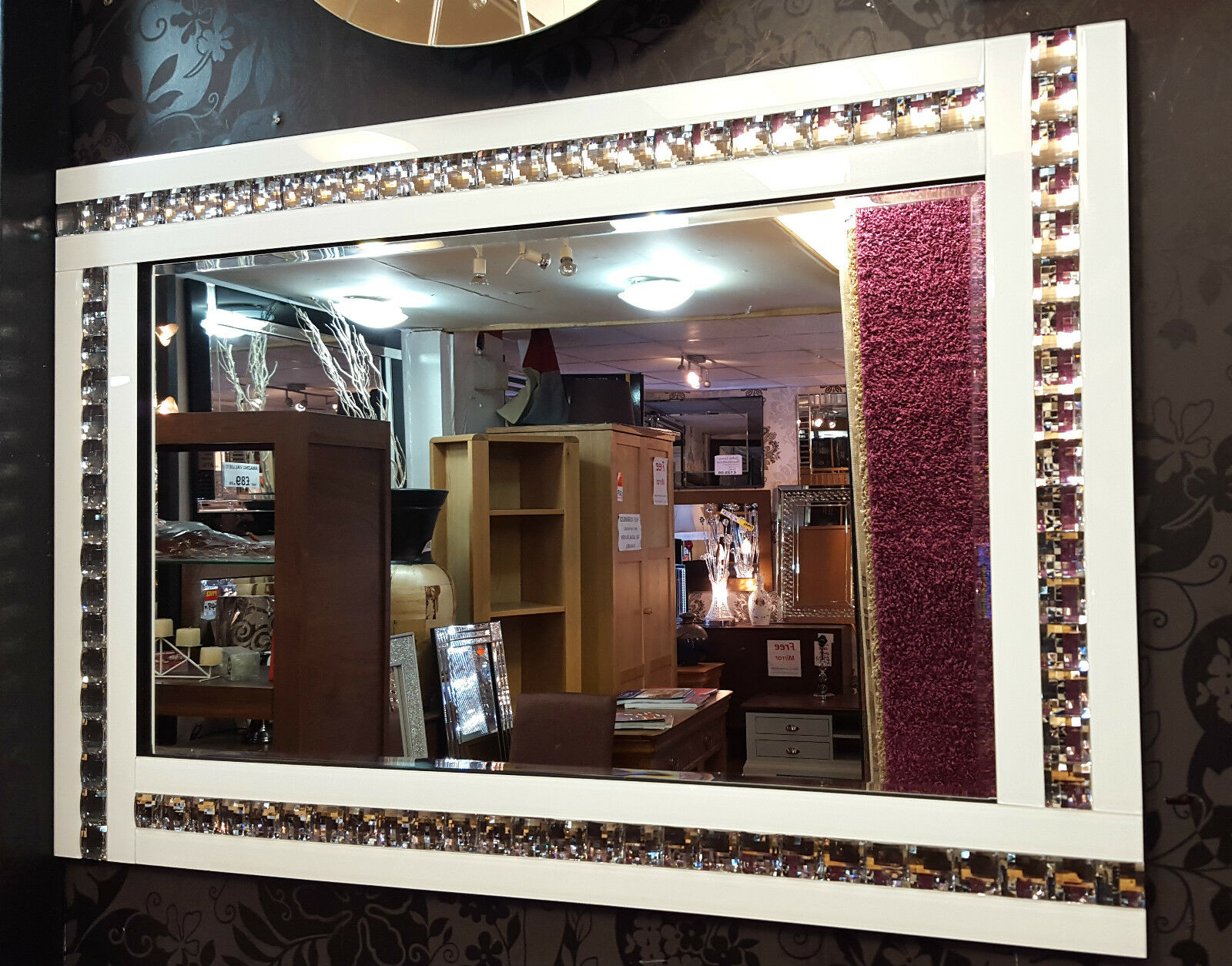 NEW Modern Art Deco Acrylic Crystal Glass Design Bevelled Mirror 80x60cm Weiß