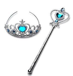 New-Frozen-Princess-Queen-Elsa-Wand-amp-Tiara-Crown-Dressing-up-Children-2-Pcs-Set