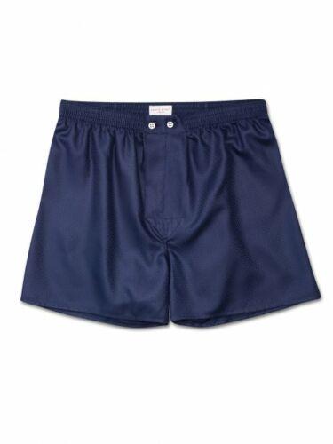 DEREK ROSE Men/'s Classic-Fit Boxer Shorts LOMBARD 6 COTTON JACQUARD NAVY