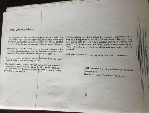 Hommes Garçons amateurs 68 page Trabant operating instructions 601,601 S /& DE LUXE
