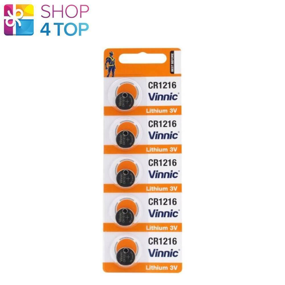 5 Vinnic CR1216 Lithium Batteries 3V Coin Cell DL1216 5BL Exp 2022 New