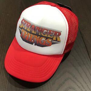 a6ef98296fe Image is loading Netflix-Stranger-Things-Snapback-Trucker-Hat-Red-Mesh-