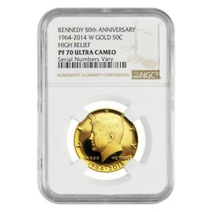 2014-W-3-4-oz-Gold-Kennedy-Half-Dollar-Proof-High-Relief-NGC-PF-70-UCAM