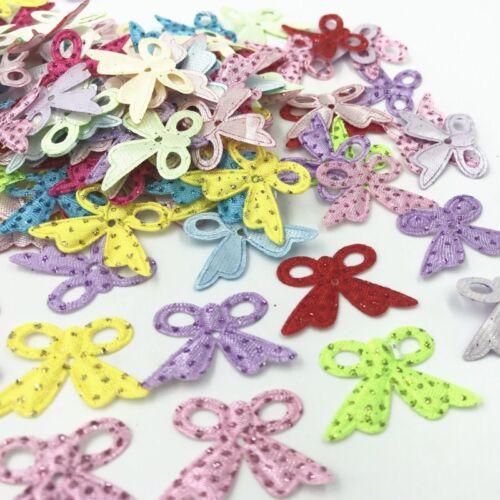 200pcs Glitter Sequins Bow Felt Appliques Mixed Colors Cardmaking Crafts 28mm