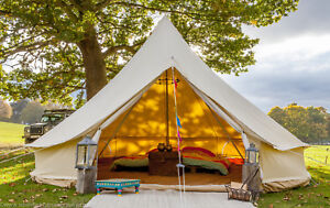 100-Cotton-5m-Bell-Tent-With-Zipped-In-Ground-Sheet-by-Bell-Tent-Boutique