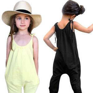 e80127892 Toddler Kids Baby Girls Summer Strap Romper Jumpsuit Harem Pants ...