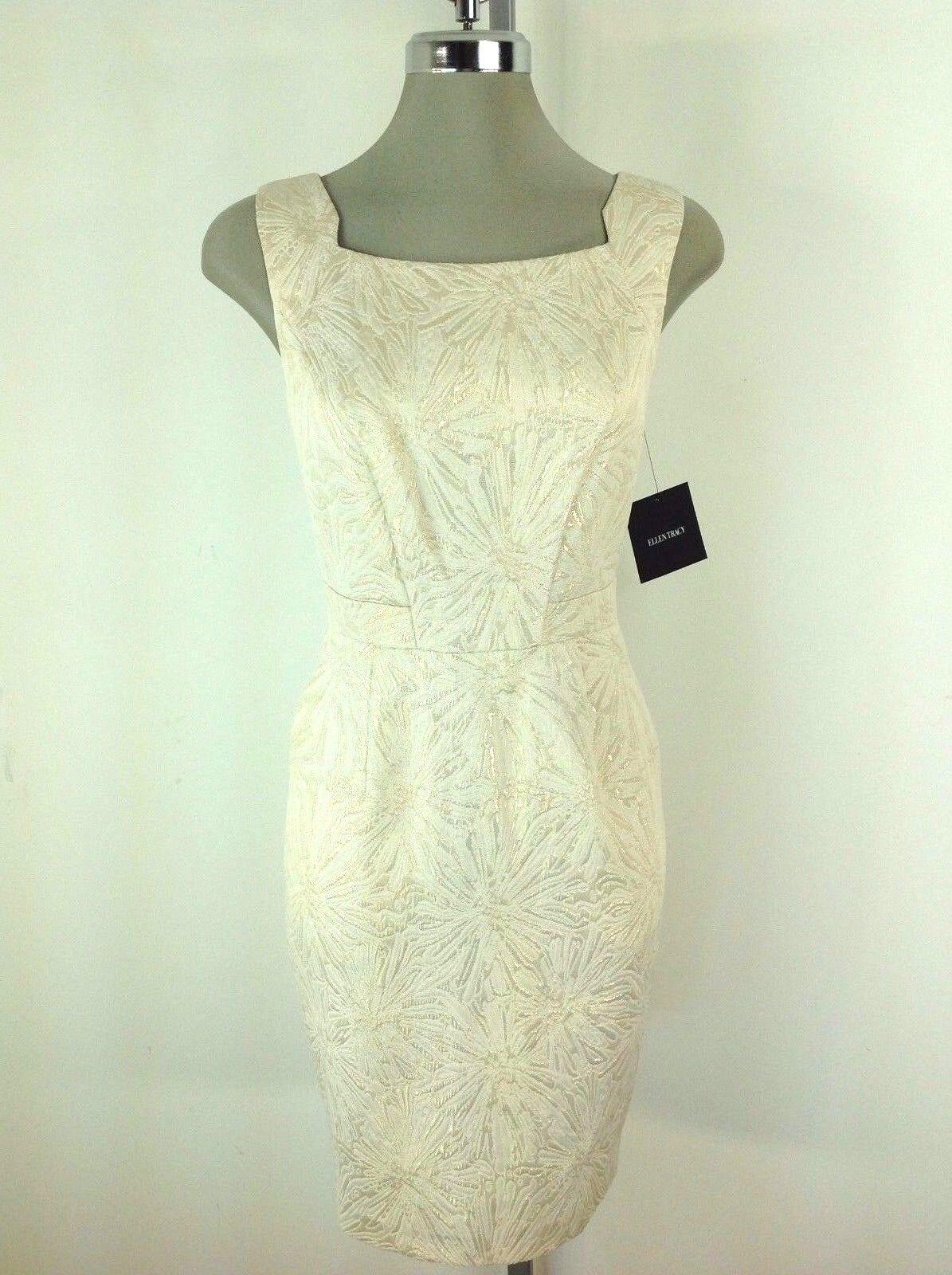 Ellen Tracy NWT Elegant Ivory gold Dress Jacquard Reg & Petite sizes 2 2P 4P 10P
