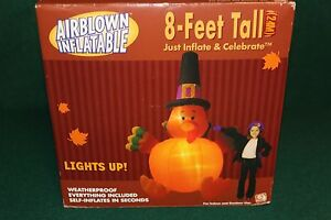 GEMMY 8FT AIRBLOWN INFLATABLE TURKEY WITH PILGRIM HAT - 2004 NEW IN BOX
