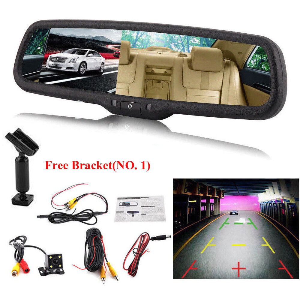 s-l1600 4.3'' 1080P TFT LCD Car Auto DVR Mirror Dash Cam+Rear View Camera Kits + Bracket