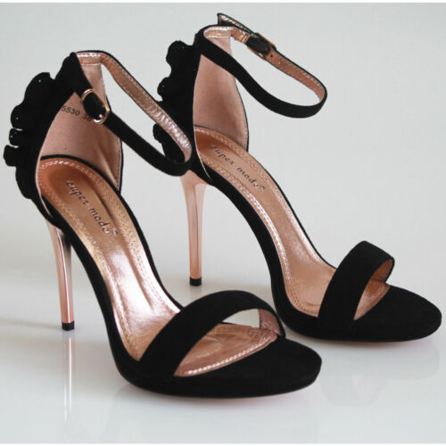 Womens Ladies Starppy Stiletto High Heel Sandals Ankle Strap Cuff Peep Toe Shoes