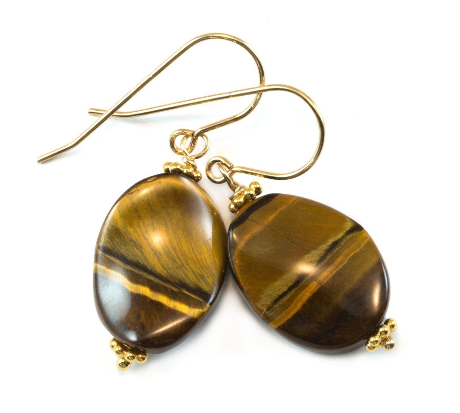 Tiger's Eye Earrings 14k gold Sterling Oval Curved Dangles Drops golden Simple