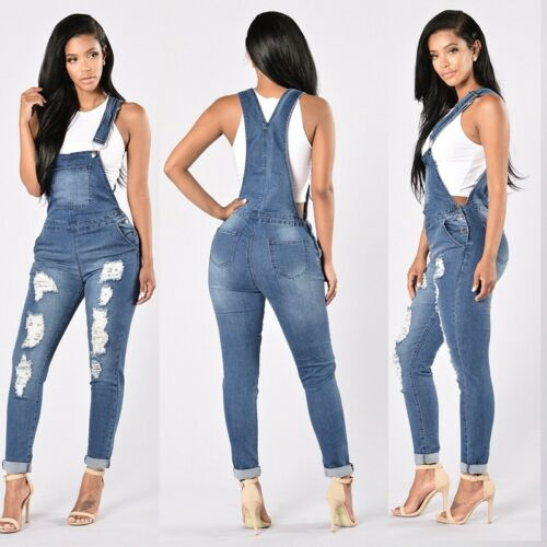 FASHION Strapssuit Denim Jeans Bib Pants Overalls Rompers Trousers UK