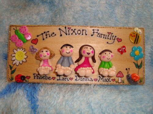 Nouveau 3d Personnalisé Maison familiale inscription bienvenue 4 personnage Plaque Cadeau de Noël