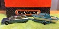 Lot Of 2 MATCHBOX LESNEY SUPERFAST Boat / Trailer & Citroen CX Wagon 1:64 D Cast