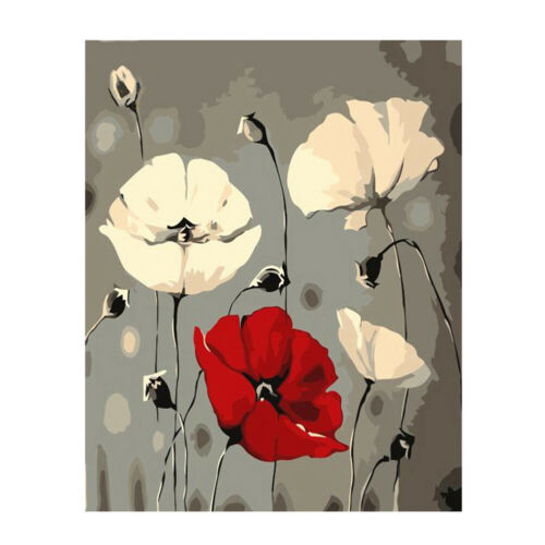 DIY Oil Painting Paint by Number Kits Canvas for Adults Kids Colorful Flowers