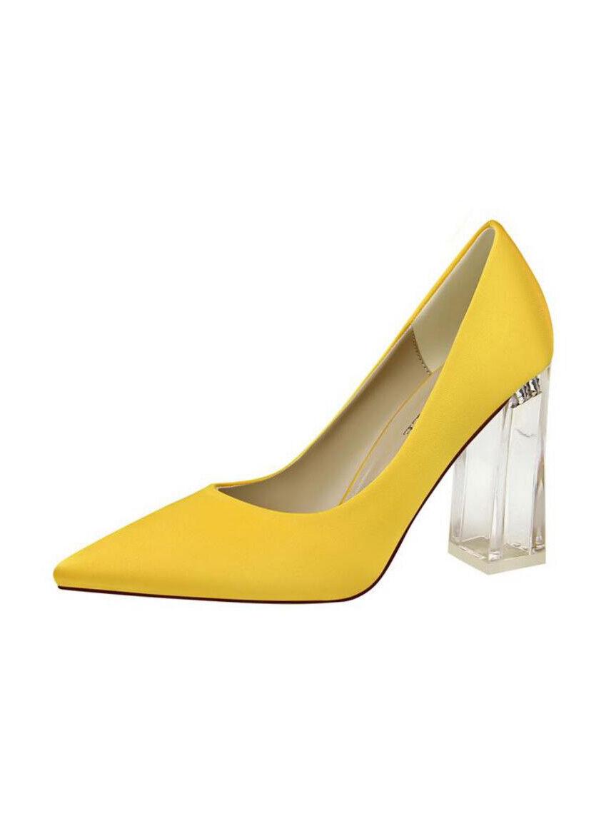 Decolte shoes trasparente eleganti yellow tacco quadrato 10 simil pelle 1741