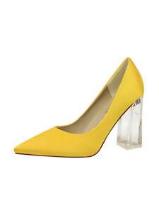 vente chaude pas cher premier taux choisir l'original Détails sur Éscarpins Chaussures Transparent Cuir Synthetique Jaune Talon  Carré 10 1741