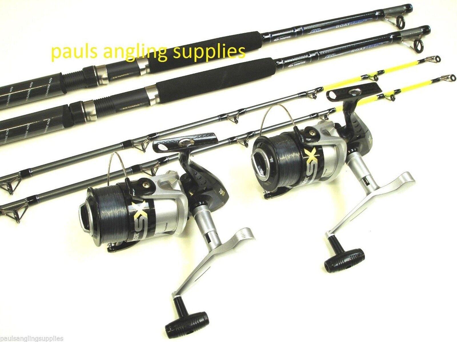 2 x  Evo Concept  Boat Fishing Rods & Vigor SX070  Reels  + Line