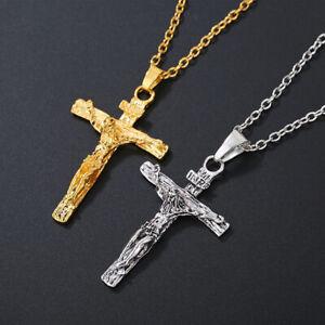 Men/'s Women/'s Christ Jesus Cross Crucifix Stainless Steel Pendant Necklace Chain