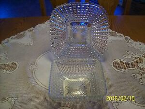 Square-Cut-Pattern-Antique-Press-Glass-Crystal-Clear-Serving-Dish-amp-Underplate