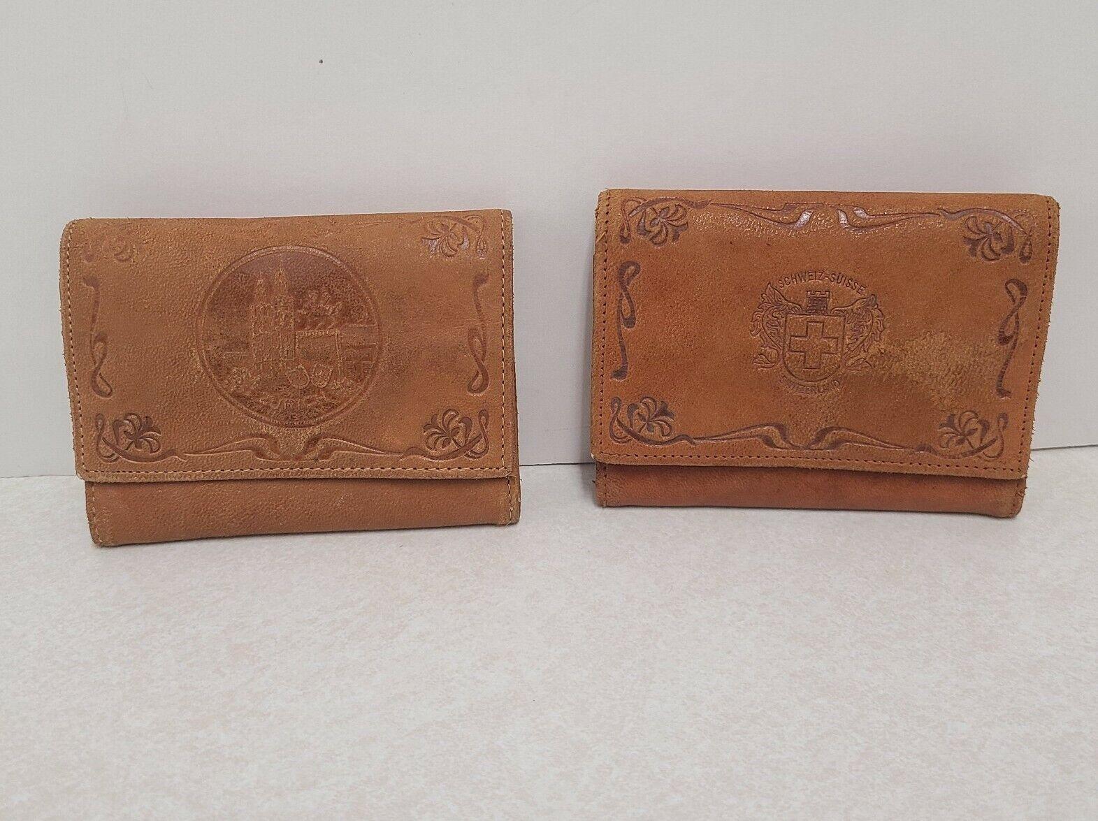 Handcrafted Leather Billfolds Lot of 2 Switzerland Zurich