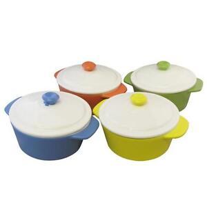 Mini-Pastel-Round-Oven-Dish-with-Lid-Matt-Finish-4-Colours-Kitchen-Baking-Pot