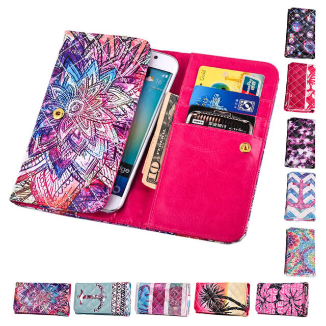Universal Wallet Card Slot Flip PU Leather Cover Case Printed Pouch For LG