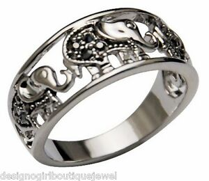 silver elephant ring black white gold band sz 5 9