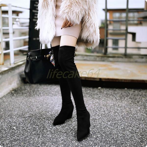 Neue spitz Stiefel Overkneestiefel Damen Schuhe gemütlich Stiefel spitz popular braun Gr.34-43 da780e