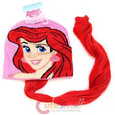 Disney Princess Little Mermiad Ariel Beanie Hat with Hair Wig Ariel Costume cap