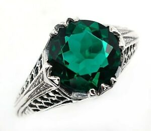 2CT-Apatite-925-Solid-Sterling-Silver-Victorian-Style-Ring-Jewelry-Sz-8-PR42