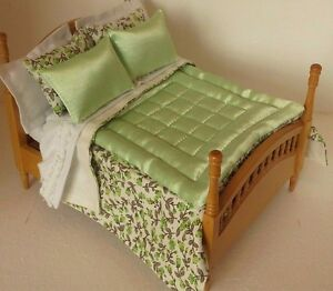 12 PIECE QUEEN/DOUBLE BEDDING SET 1:12 SCALE DOLLHOUSE ARTISAN MADE
