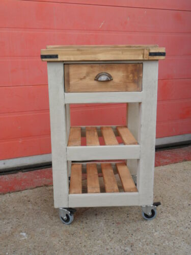Handmade Solid Pine Rustic Butchers Block Style Movable Table 4 braked wheels