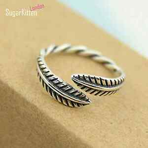 Intricate-Solid-925-Sterling-Silver-Retro-Feather-Leaves-Adjustable-Knuckle-Ring