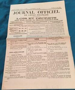 Journal Officiel De L'état Français Du 21 Avril 1944
