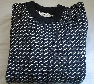 LL Bean Heritage Sweater, Norwegian Crewneck Birdseye Knit - Wool NAVY XL NWOt