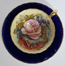 Aynsley Cup and Saucer Bone China Cobalt Ground Cabbage Rose SIGNED by JA BAILEY