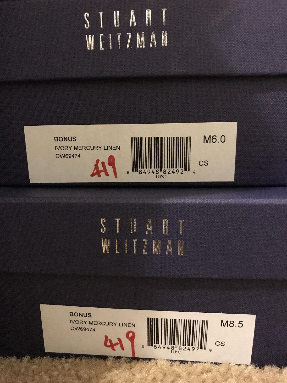 NIB Stuart Weitzman Bonus 6.5 8 8 8 ivory mercury linen, leather piping with bow a781d1