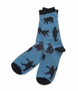 Hatley-Crew-Socks-WOMENS-Medium-9-11-BLACK-BEARS-on-BLUE