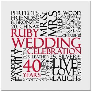 Inviti Anniversario Di Matrimonio Gratis.Ruby 40th Anniversario Di Matrimonio Inviti Invito 10 Pack Uk