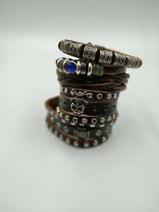 Leather-Handmade-Surfer-Wristband-Bracelets-Wholesale-Job-Lot-18-pieces-Punk