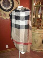 Burberry London 220cm x 90 cm Giant Check Wool/ Silk Gauze Scarf Wrap Camel