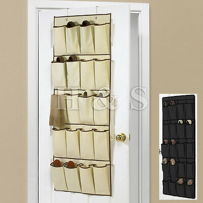 20 Pockets Hanging Over Door Shoe Organiser Storage Rack Bag Box Wardrobe Hook