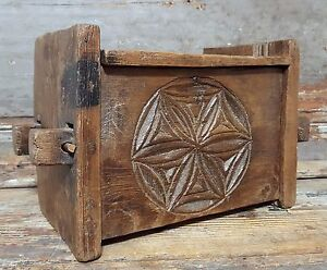 Primitive wood farmhouse decorative chest box Antique french salvaged folk art