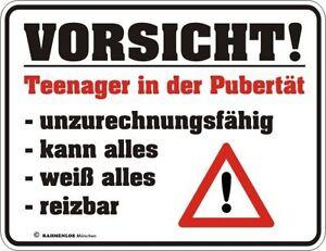 Fun Blechschild Vorsicht Teenager In Der Pubertat Geburtstag
