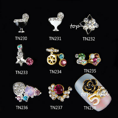 New 10x 3D Colorful Flower Alloy Nail Art Decoration Jewelry Glitter Rhinestone