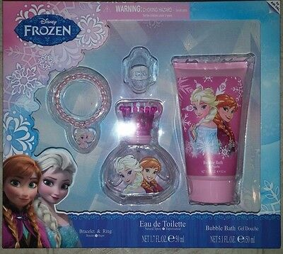 Disney Frozen Perfume 1.7oz, Bubble Bath 5.1oz, Ring, Bracelet Gift Set New