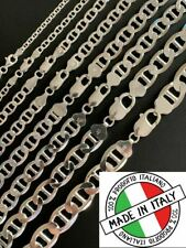 Real Solid 925 Sterling Silver Mariner Link Chain Or Bracelet ITALY 3-12mm Mens