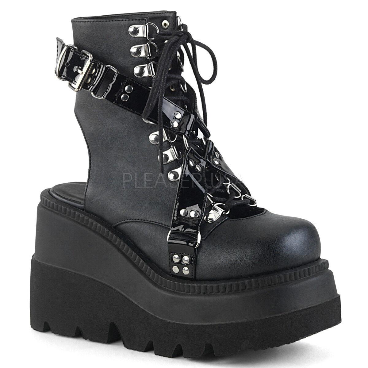 Demonia SHAKER-56 SHAKER-56 SHAKER-56 Women's Wedge Platform Open Back Lace-up Ankle Boot 9dd9d5