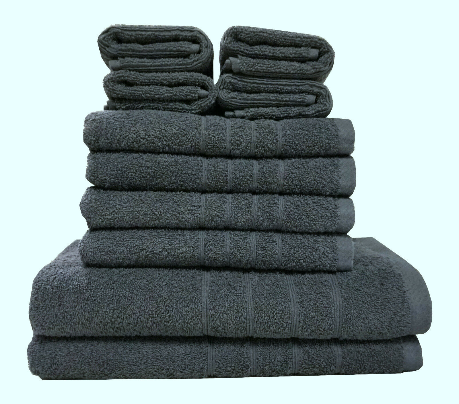 10 tlg. Frottee Handtuch Set -  Anthrazit - 2 Duschtuch 4 Handtuch 4 Gästetuch